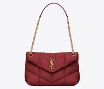 Kleine Puffer Tasche aus Gestepptem Lammleder Rot
