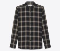 signature hemd aus schwarzer und grauer baumwolle und tencel mit yves-kragen