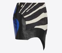 Asymmetrischer Minirock aus schwarzem und weißem Leder und blauem Pythonleder-Patchwork