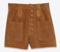 Shorts mit hohem Bund aus cognacfarbenem Velours