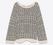 Oversize-Pullover Im Destroyed-Look aus Jacquard mit Grafik Weiß