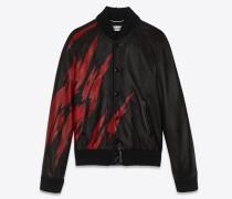 teddy-jacke aus schwarzem und rotem leder mit flammenprint