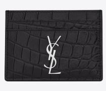 monogram kreditkartenetui aus schwarzem lackleder mit krokodilprägung
