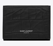 winziges saint laurent paris portemonnaie aus schwarzem leder mit krokodilprägung