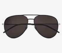 Sonnenbrille CLASSIC 11 aus schwarzem Metall und Leder mit rauchgrauen Gläsern