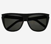 new wave 1 sonnenbrille aus glänzend schwarzem acetat mit rauchfarbenen gläsern