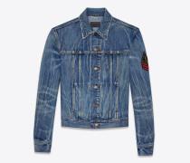 original jeansjacke mit army-ysl-patch in original blue-shadow-waschung