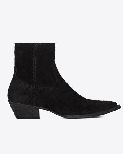 Lukas 40 Stiefel aus schwarzem Veloursspaltleder