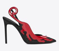Anja 105 Punk Panter-Pumps aus schwarzer Schlangenheut und rotem Lackleder mit Slingbackriemen