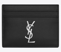 Monogramme Kreditkartenetui aus schwarzem Leder