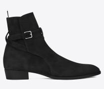 signature wyatt 30 jodhpur-stiefel aus schwarzem veloursleder