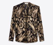 shirt mit tunikaausschnitt aus schwarzer seide mit blumen aus goldenem lamé