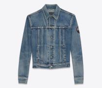 Jeansjacke aus ausgebleichtem blauem Denim mit Patch