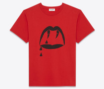 t-shirt aus baumwolle mit blutroten streifen
