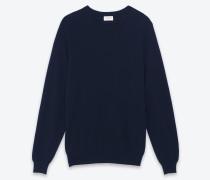 klassischer pullover mit rundhalsausschnitt aus navyblauem kaschmir