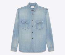 Oversize-Hemd aus hellblauem Denim