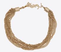 LOULOU Halskette mit verdrehten Ketten aus hellgoldfarbenem Messing