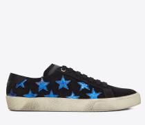 Klassischer Court SL/06 CALIFORNIA Sneaker aus schwarzem und metallic-blauem Leder