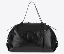 Große verstellbare ID Tasche aus schwarzem Moroder-Leder
