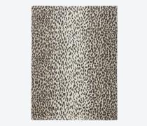 stola grande aus kaschmir und seiden-etamin in beigefarbenem und schwarzem babycat-print