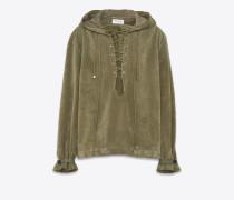 Oversize-Kapuzenjacke aus armygrünem Crosta-Velours