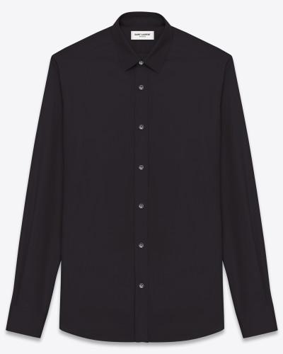 signature yves collar shirt in black cotton poplin