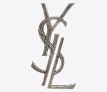 Monogram dekonstruierte Brosche aus antikisiertem, silberfarbenem Metall