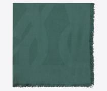 Großer, grüner Schal aus Seidenjacquard