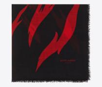 Flame großer Schal aus schwarzer und roter Wolle mit Flammenprint