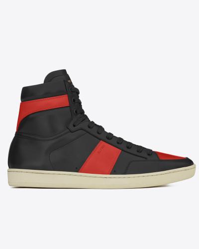 signatur court sl/10h high top sneaker in schwarzem und rotem leder