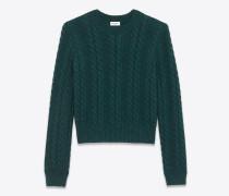 Grüner Pullover mit Rundhalsausschnitt aus Twiststrick