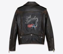Klassische BOUCHE SAINT LAURENT Bikerjacke aus schwarzem Leder