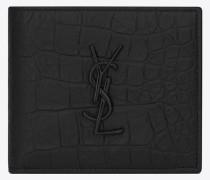 monogram east/west portemonnaie aus schwarzem mischleder mit krokodillederprägung
