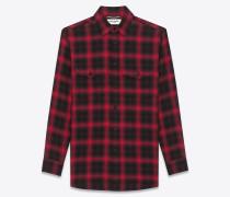 hemd aus schwarzer und roter baumwolle und elastan mit karomuster