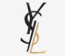 monogram brosche in schwarz und gold