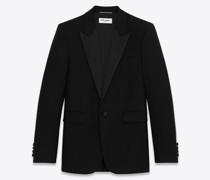Quadratisch Geschnittene, Lange Smoking-Jacke aus Wolltwill Schwarz