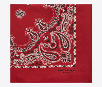 bandana square scarf in red and white paisley printed silk