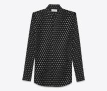 hemd aus schwarzem canvas mit ikatprint und yves-kragen
