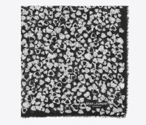 Großer, quadratischer Schal aus schwarzem und elfenbeinfarbenem Wolletamin mit Blüten- und Herzprint