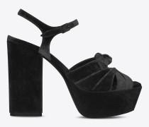 Farrah 80 Sandale aus schwarzem Samt mit Schleife