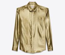 klassische bluse mit goldfarbenem metallic-garn.