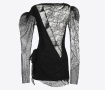 schwarzes minikleid mit spitzenpatchwork