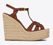 espadrille 85 plateau-sandale aus bernsteingelbem leder