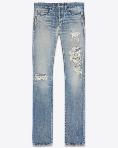Slim-Jeans aus mittelblauem, ausgebleichtem Denim mit Löchern