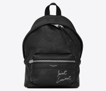 Mini TOY CITY Rucksack aus schwarzem Leder mit Stickerei
