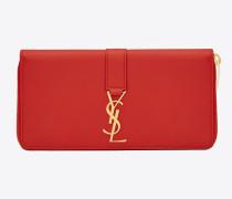 ysl-portemonnaie mit reißverschluss aus rotem leder