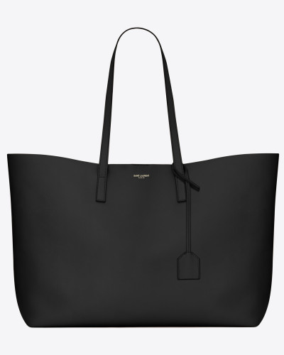 shopping bag aus schwarzem leder