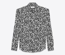 Klassische Bluse aus schwarzem und weißem Seidencrêpe mit Blütenprint
