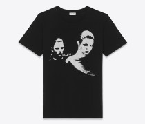 Oversize-T-Shirt in Schwarz-weiß mit Paarprint