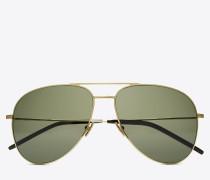 classic 11 pilotensonnenbrille aus glänzend goldfarbenem stahl mit grünen gläsern